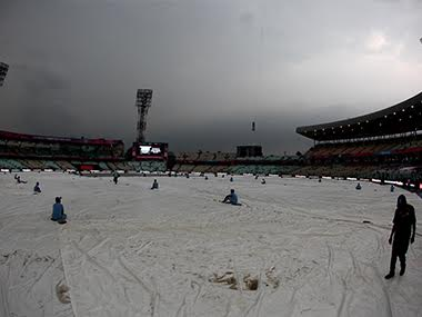 Covers on at Eden Gardens where it's pouring, putting India vs Pkaistan under doubt. Solaris images