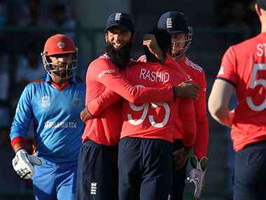 England players celebrate during the game against Bangladesh. AP