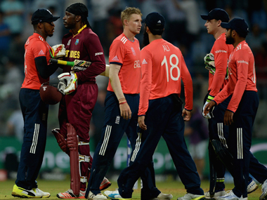 Chris Gayle shakes hands with England players after the World T20 match at Wankhede in Mumbai on Wednesday. Getty