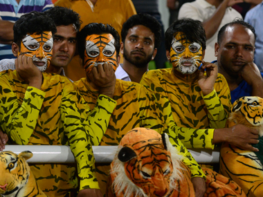 Bangladesh fans look dejected their team lost to India in Asia Cup final in Mirpur on Sunday. AFP