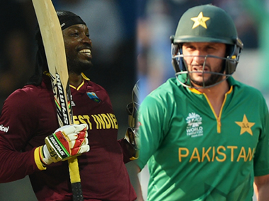 Chris Gayle (left) and Shahid Afridi were the highlights of the West Indian and Pakistani batting performances respectively. AFP