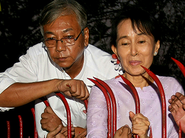 Htin Kyaw sworn in as Myanmars new president Suu Kyi will be foreign minister