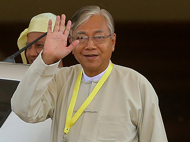 Htin Kyaw after winning the Myanmar presidential elections. AFP