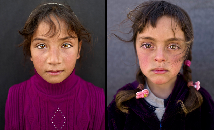 """(L) Zahra Mahmoud, 5, from Deir el-Zour, Syria, poses for a picture at an informal tented settlement near the Syrian border on the outskirts of Mafraq, Jordan. (R) Mariam Aloush, 8, from Homs, Syria, says, """"I remember our home in Syria and my school there. I just want to go back"""". Image from AP Photo/Muhammed Muheisen"""