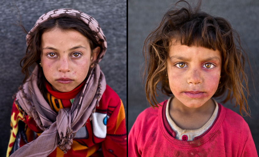 """(L) Mona Emad, 5, from Hassakeh, says, """"I want to go back to Syria but my father told us that he wants to go to The United States of America."""" (R) Hanan Khalid, 7 Image from AP Photo/Muhammed Muheisen"""
