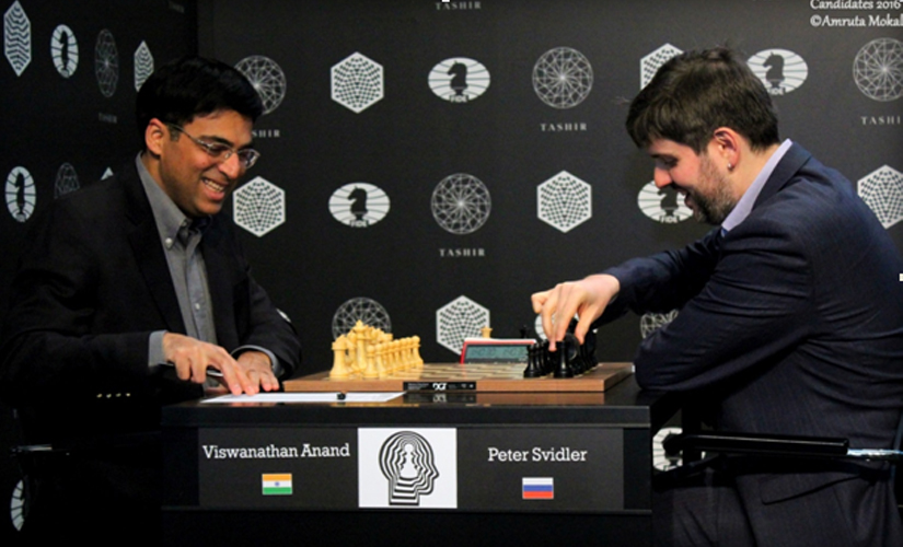 Viswanathan Anand during the fifth round match against Peter Svidler at the Central Telegraph building in Moscow on Thursday. Amruta Mokal