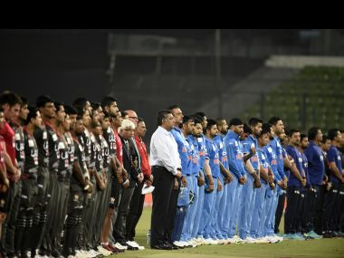 As a mark of respect, India and UAE players wore black armbands and observed a minute's silence. AFP