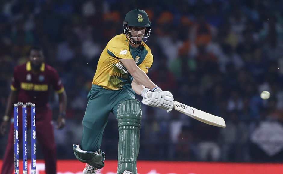 Cheeky chokers: South Africa's Chris Morris attempts a clever reverse hit as South Africa lose to the West Indies. AP
