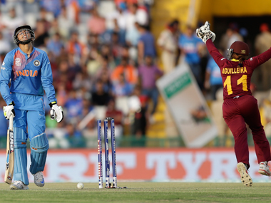 Smiriti Mandhana departs after being castled by Afy Fletcher during the Women's World T20 match in Mohali on Sunday. AP