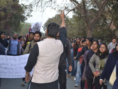 A file image of JNU students protesting near Jantar Mantar. Image by Tarique Anwar/Firstpost