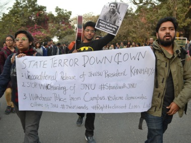 File photo of a protest at JNU campus in New Delhi. Tarique Anwar