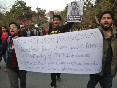 File photo of the protest at JNU. Tarique Anwar