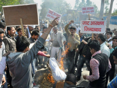 File image of the Jat agitation in Haryana. PTI