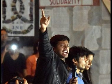 New Delhi: JNUSU President Kanhaiya Kumar with students after reaching at the JNU campus upon his release on bail, in New Delhi on Thursday. PTI
