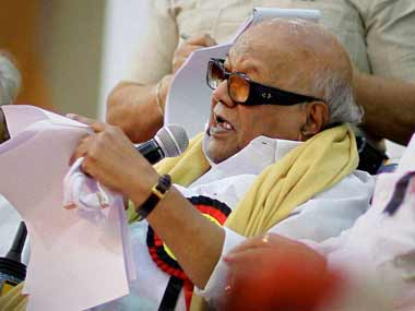 DMK party supremo M Karunanidhi. PTI
