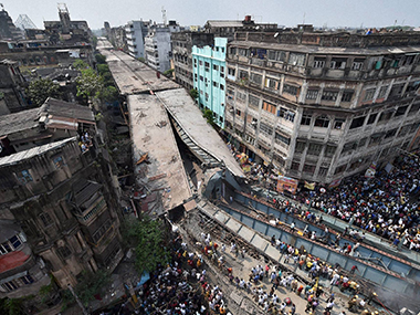 A file photo of the collapsed Vivekanand flyover. PTI