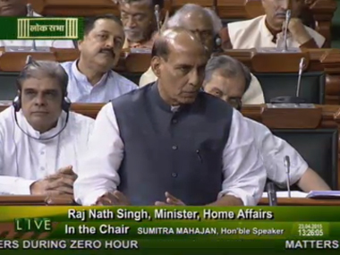 Union Home Minister Rajnath Singh. Image courtesy: Screengrab