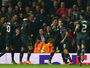 Philippe Coutinho of Liverpool celebrates after scoring. Getty Images