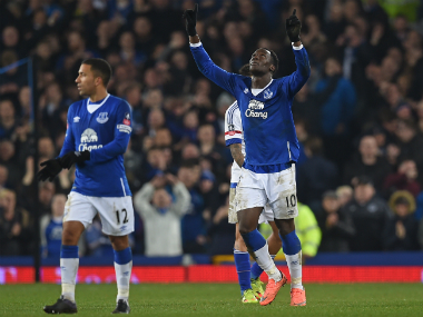 Everton's Belgian striker Romelu Lukaku celebrates after scoring their second goal during FA cup quarter-final football match between Everton and Chelsea at Goodison Park. AFP