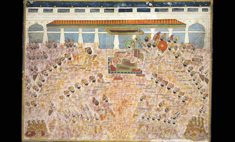 Maharaja Man Singh Celebrating the festival of Holi, estimated at £20,000-30,000. Image courtesy Bonhams