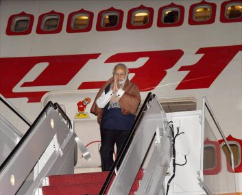 Prime Minister Narendra Modi upon his arrival at Andrews Air Force base in Washington on Thursday. PTI