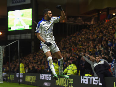 Riyad Mahrez celebrates scoring his team's first and only goal. Getty