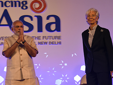 Narendra Modi and IMF chief Christine Lagarde at the conference in Delhi. AFP