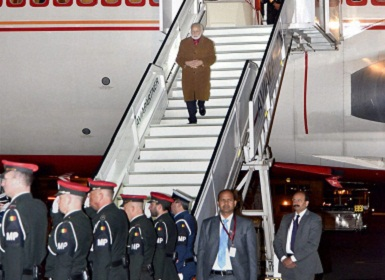 Prime Minister Narendra Modi upon his arrival at Brussels airport. PTI Photo