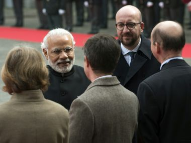 Indian Prime Minister Narendra Modi with Belgian Prime Minister Charles Michel. AFP