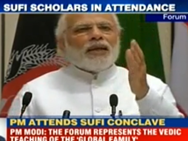 PM Modi at the World Sufi Forum in New Delhi on Thursday. India Today