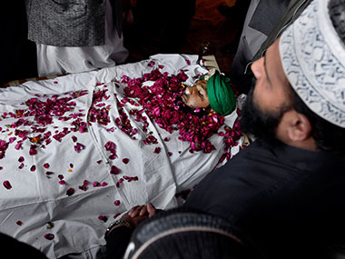 A file photo from Mumtaz Qadri's funeral. AP
