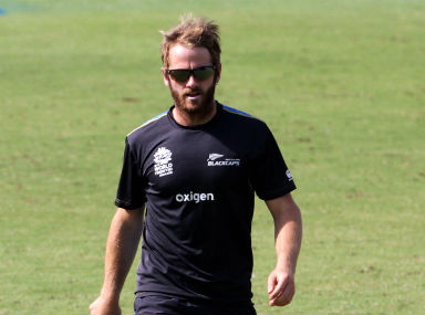 NZ captain Kane Williamson during a practice session at the Kotla in Delhi on Wednesday. Solaris Images