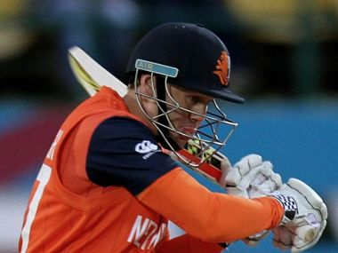 Netherlands' highest scoring batsman Stephan Myburgh in action against Ireland> AFP