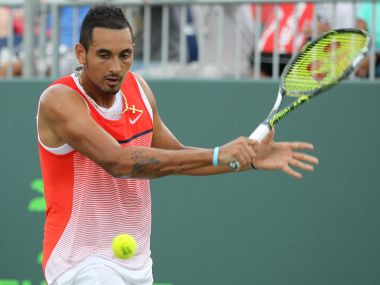 Nick Kyrgios against Andrey Kuznetsov during the Miami Open. AP
