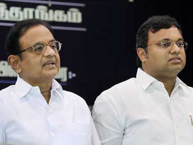 P Chidambaram and Karti Chidambaram. File photo. PTI