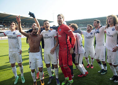 PSG celebrate their Ligue 1 triupmh. AFP