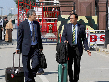The Pakistan security team arrives at the Wagah border. PTI