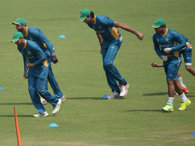 Pakistan players during a practice session at the Eden Gardens. AFP