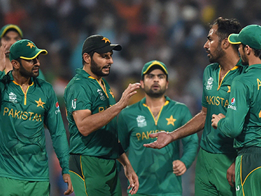 Pakistan players during the World T20 match against India at Eden Gardens on Saturday. AFP