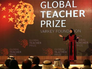 Palestinian teacher Hanan al-Hroub winning the Global Teacher Prize. AP