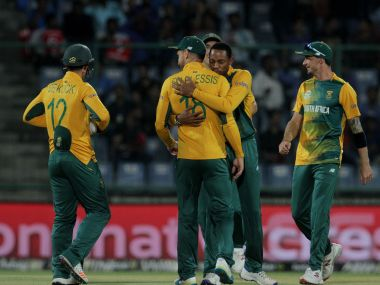 Aaron Phangiso celebrates a wicket with his teammates. Solaris Images