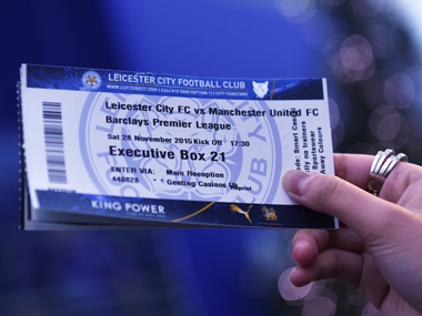 A fan shows the match ticket prior to the match between Leicester City and Manchester United. Getty Images