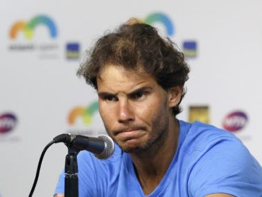 Rafael Nadal at a news conference at the Miami Open. AP