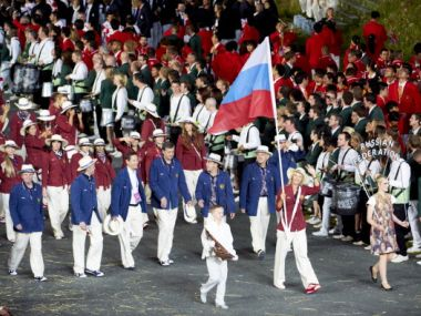 File photo of Russia tennis player and national flag bearer Maria Sharapova during Parade of Nations. Getty Images