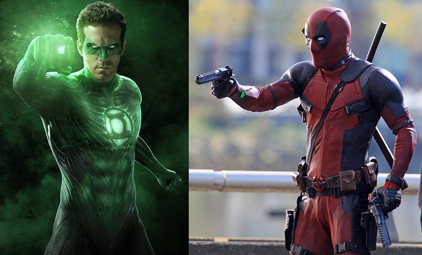 Ryan Reynolds in the ill-fated Green Lantern (L) and in Deadpool