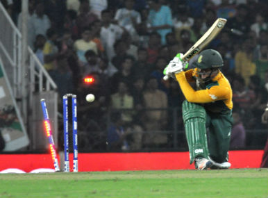 South Africa's Quinton de Kock is castled gets clean bowled during World T20 match against West Indies in Nagpur on Friday. Solaris Images