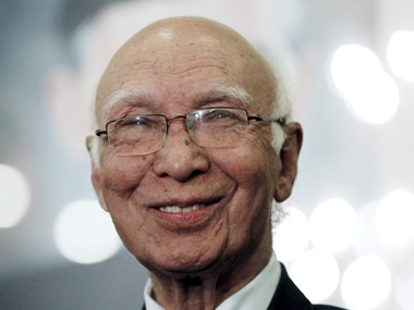 Sartaj Aziz. File photo. Reuters