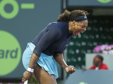 Serena Williams celebrates after defeating Christina McHale, also of the United States at the Miami Open. AP