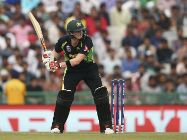 Steve Smith shuffles to the off, completely exposing his stumps against Wahab Riaz during Australia World T20 match against Pakistan in Mohali on Friday