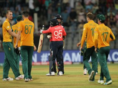 Adil Rashid celebrates with Moeen Ali after defeating South Africa. AP